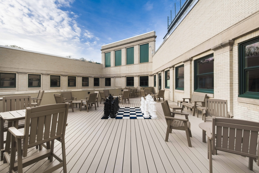 Roof deck with giant chess set