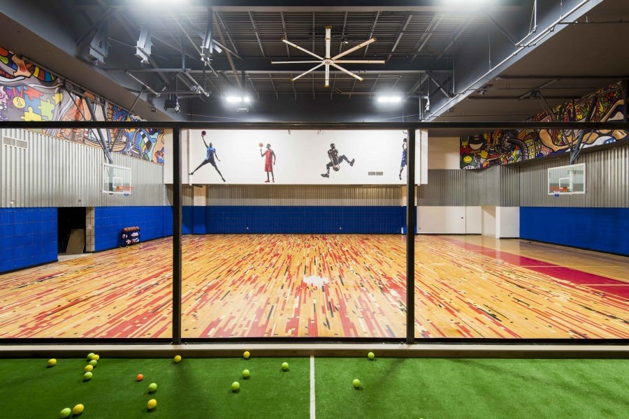 Basketball court and indoor bocce