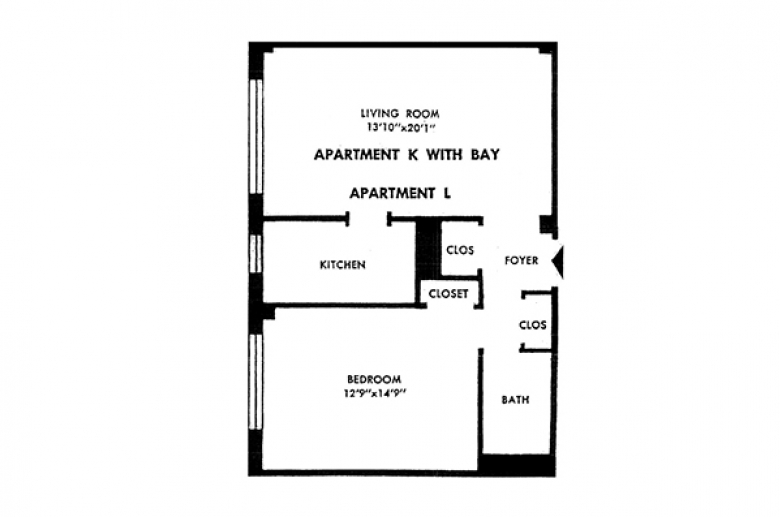Parkway House Apartments sample 1BR unit, Apartment L