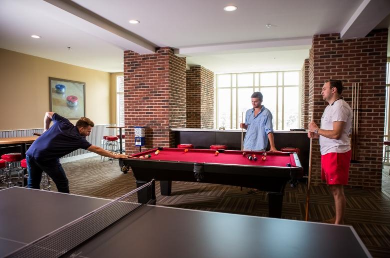 Pool, ping-pong, and shuffleboard area