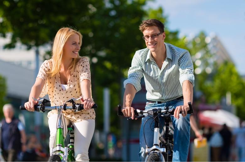 Couple Riding Bikes