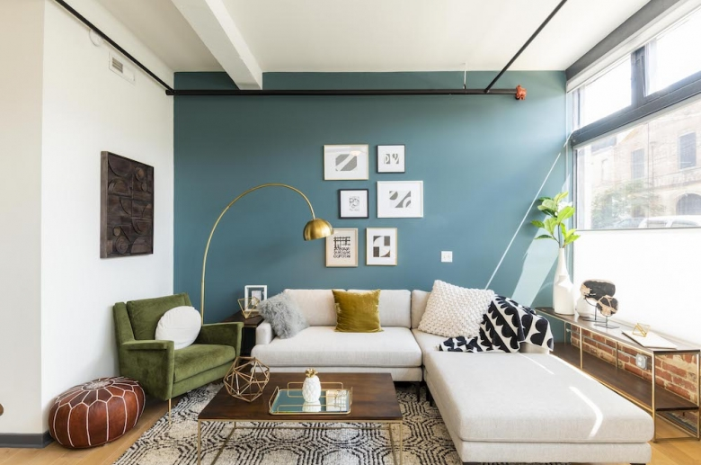 Living space featuring an industrial vibe