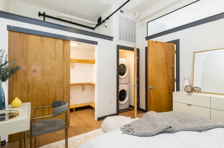 Abundant storage space and laundry unit