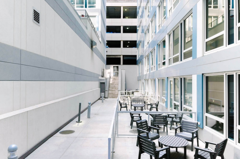 Exterior resident seating