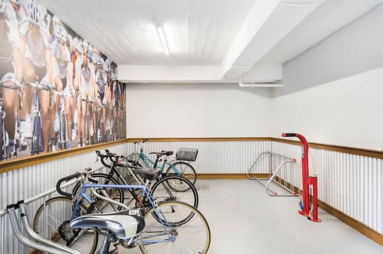Bike room with track pump