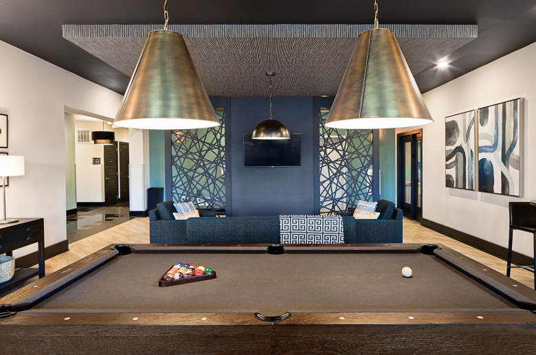 Resident's lounge with pool area at 757 North Apartment