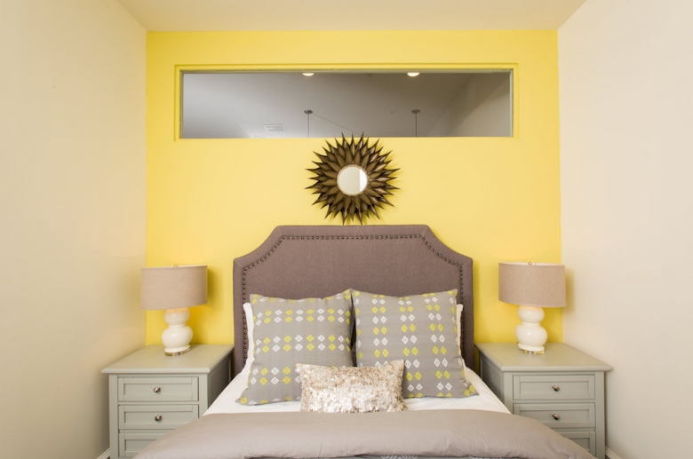 Fully furnished bedroom at 915 Main Street