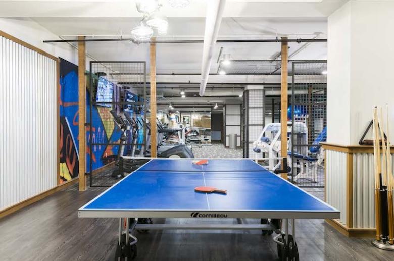 Ping-pong area at 915 Main Street