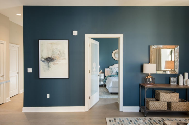 Bedroom with frosted glass door