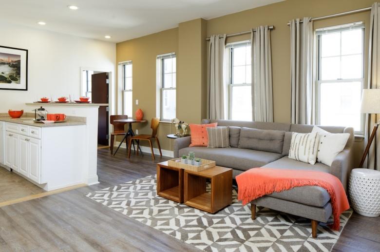 Hardwood flooring carries through common spaces