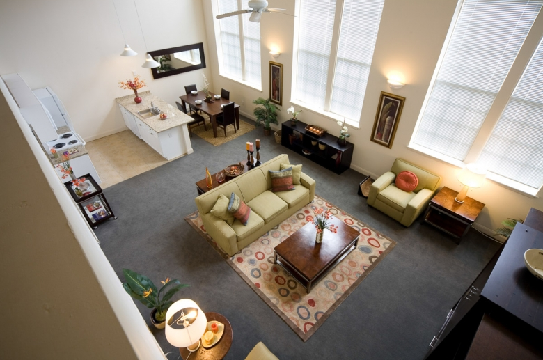 Granby Mills aerial view of the open concept lower level floor plan