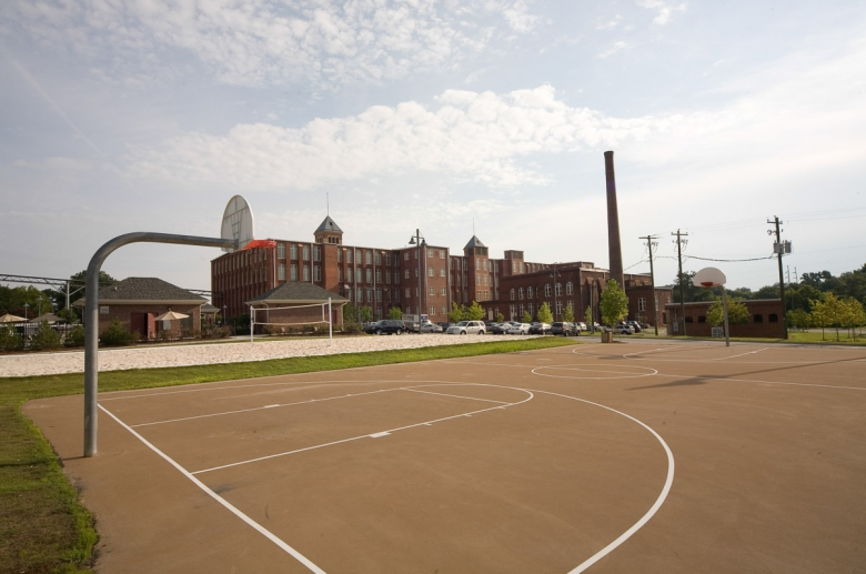 Outdoor basketball court at Granby Mills