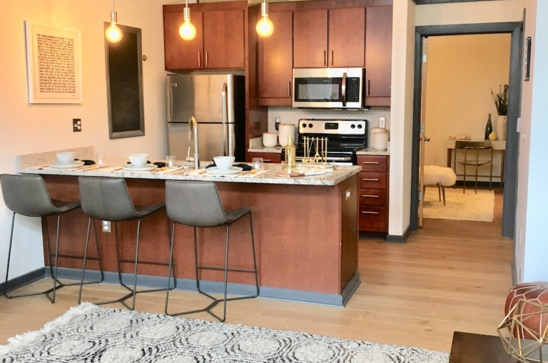 Combined kitchen and living space