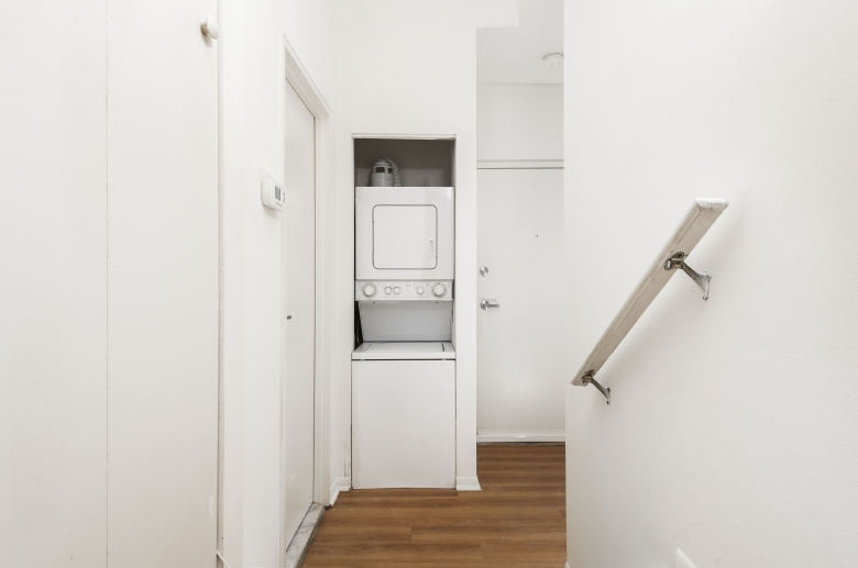 In-unit stackable washer and dryer