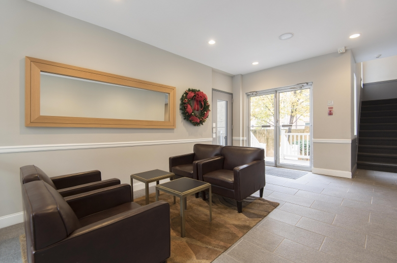 Updated modern lobby with guest seating