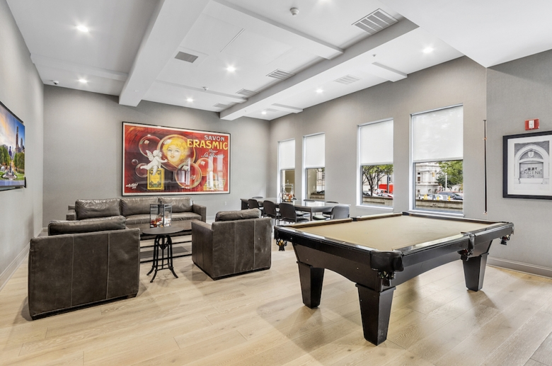 Resident club room with billiards