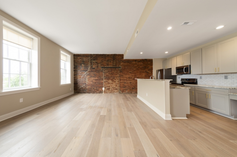 Waterfront Apartments open concept floorplan with oversized windows