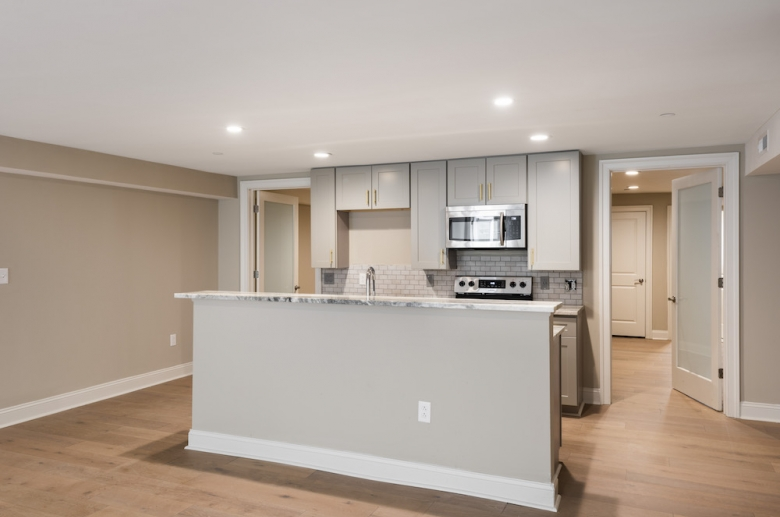 Open concept kitchen at Waterfront Apartments