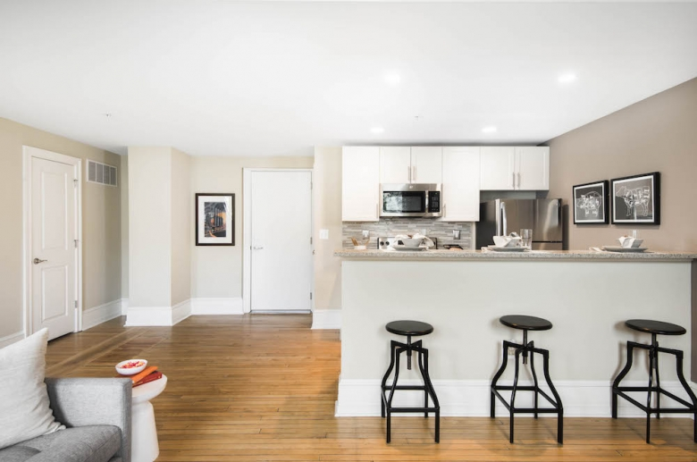 Open concept kitchen and dining space
