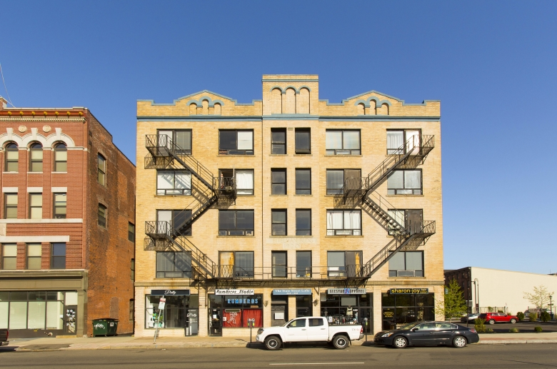 A mid-rise apartment complex