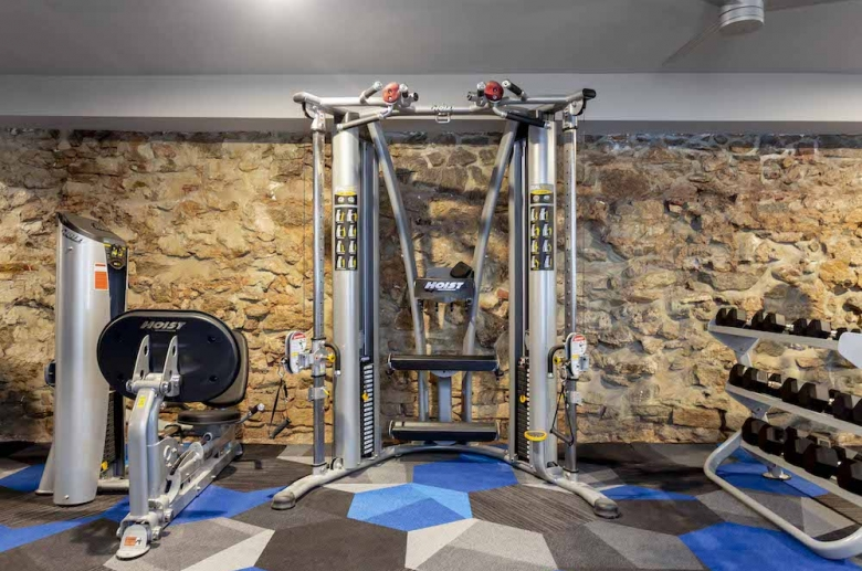 Waterfront Apartments' strength training equipment