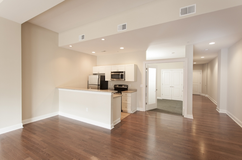Combined kitchen and dining space