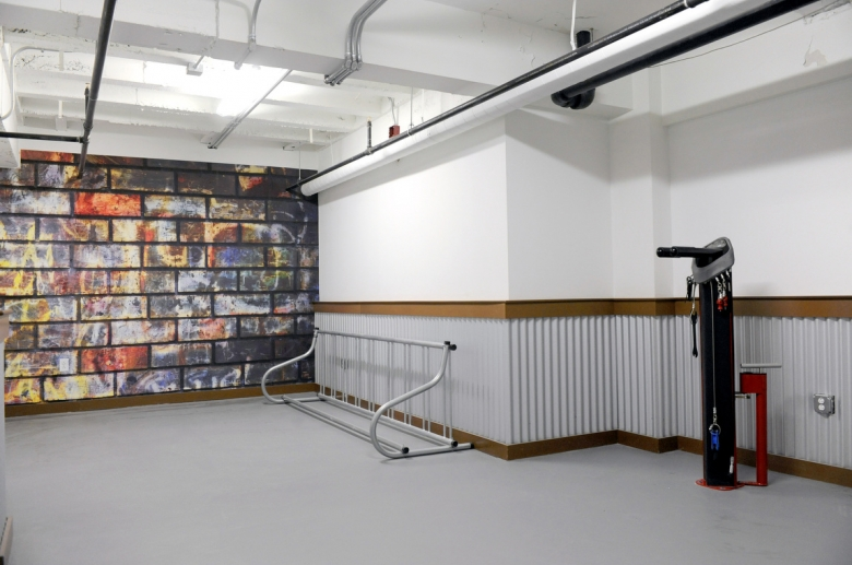 Bicycle room with storage and pump