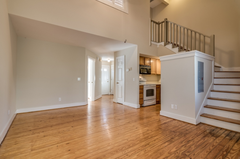 Dinning, living, and kitchen space