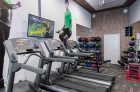 Free weights and television on the fitness center