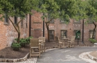 Outdoor seating at center open courtyard