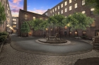 Center open courtyard with outdoor seating at Strouse Adler