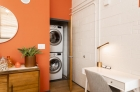 Plant 1 bedroom with stackable washer and dryer