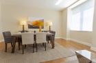 Dining room with hardwood flooring